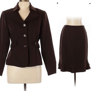 Perceptions Brown Skirt Timeless Suit 2 pc 12